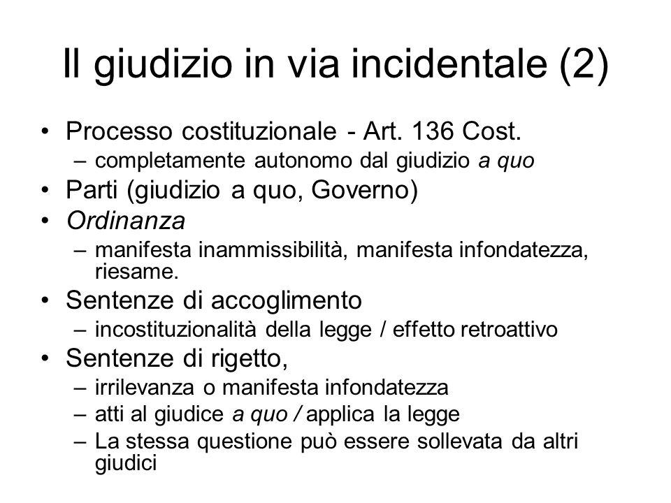 Il giudizio in via incidentale (2) Processo costituzionale - Art. 136 Cost. –completamente autonomo dal giudizio a quo Parti (giudizio a quo, Governo)