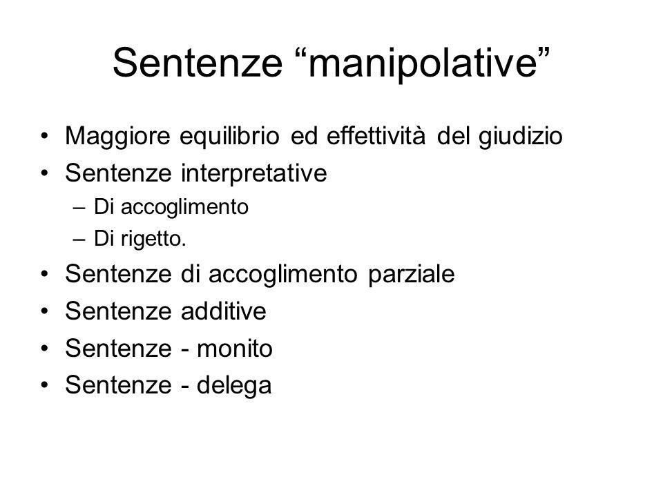 Sentenze manipolative Maggiore equilibrio ed effettività del giudizio Sentenze interpretative –Di accoglimento –Di rigetto. Sentenze di accoglimento p