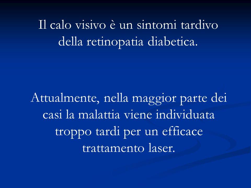Il calo visivo è un sintomi tardivo della retinopatia diabetica. Attualmente, nella maggior parte dei casi la malattia viene individuata troppo tardi