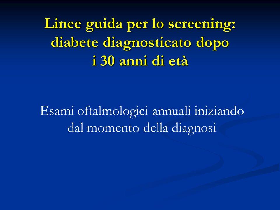 Esami oftalmologici annuali iniziando dal momento della diagnosi Linee guida per lo screening: diabete diagnosticato dopo i 30 anni di età