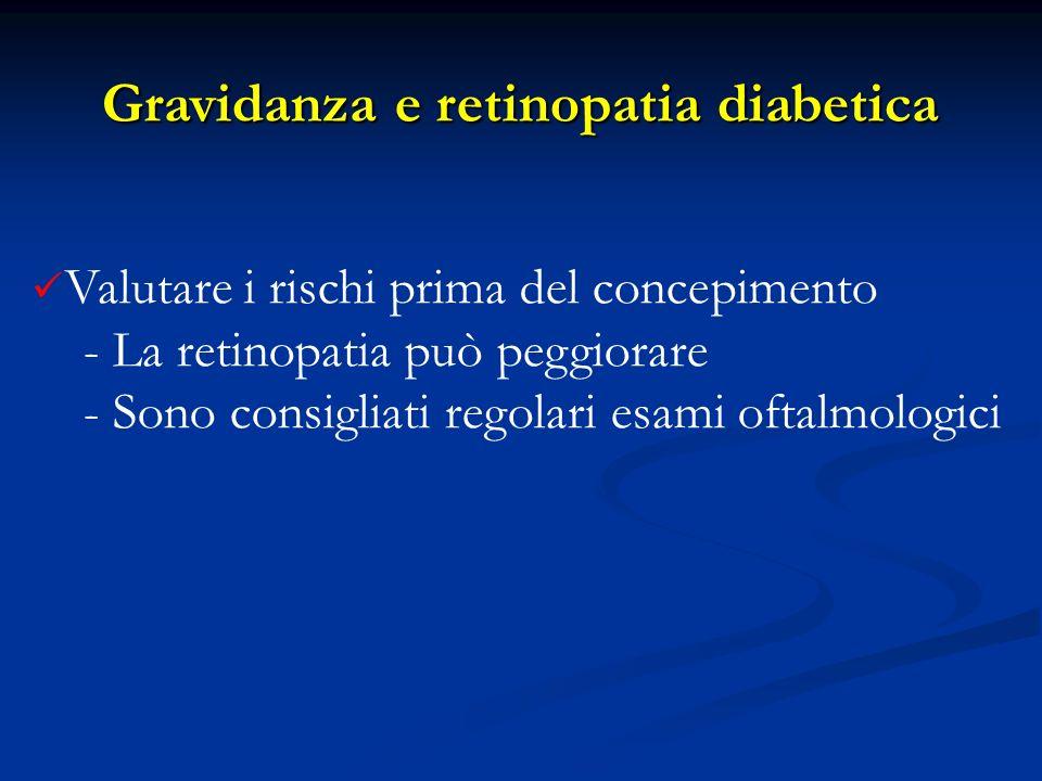 Valutare i rischi prima del concepimento - La retinopatia può peggiorare - Sono consigliati regolari esami oftalmologici Gravidanza e retinopatia diab