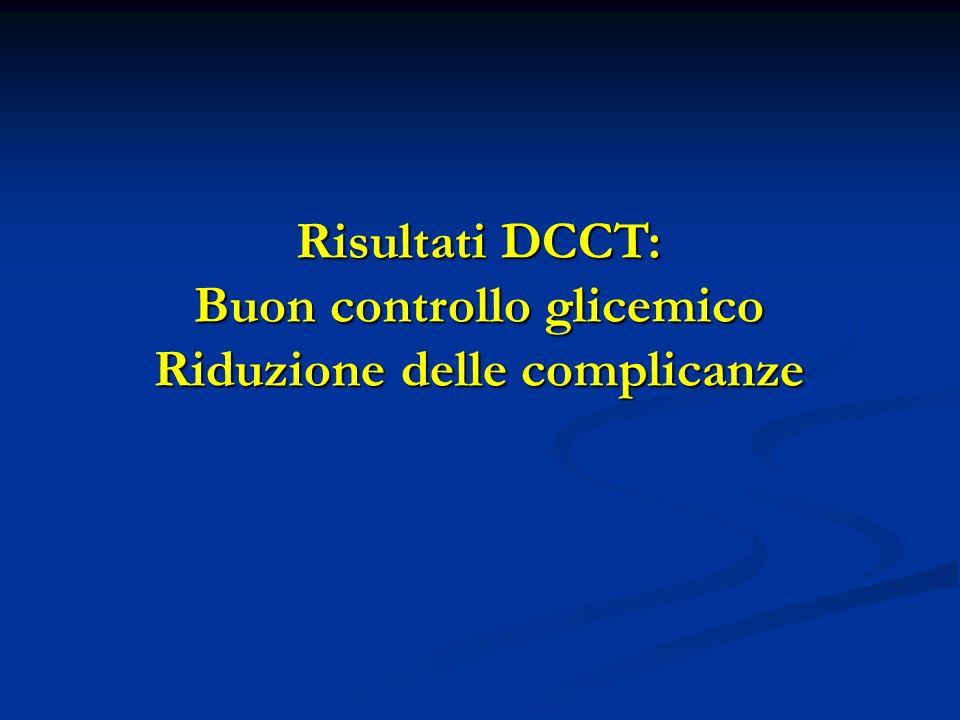 Risultati DCCT: Buon controllo glicemico Riduzione delle complicanze
