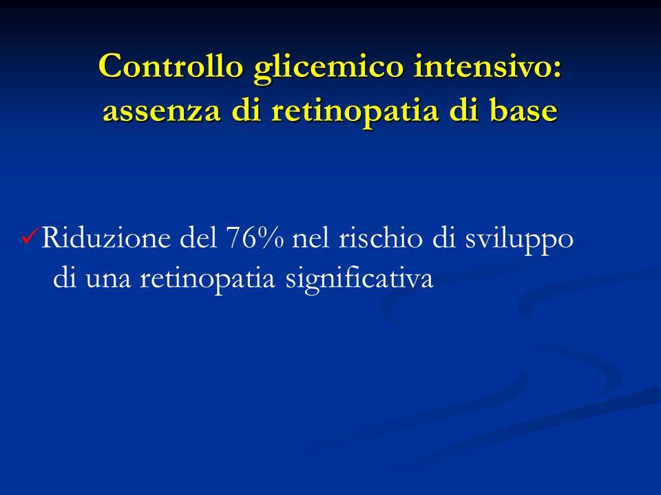 Riduzione del 76% nel rischio di sviluppo di una retinopatia significativa Controllo glicemico intensivo: assenza di retinopatia di base