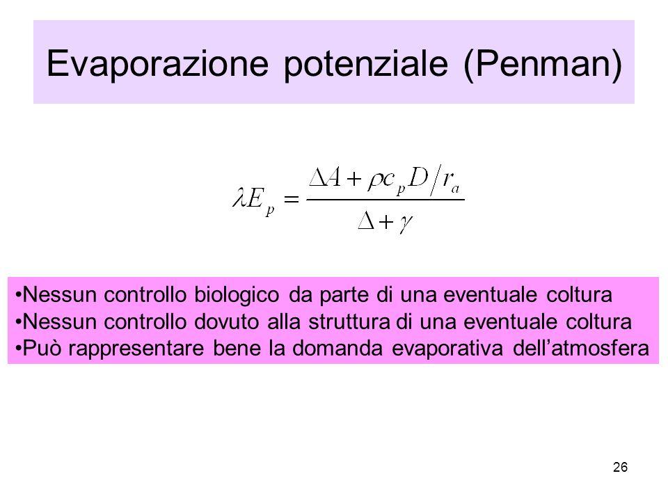 26 Evaporazione potenziale (Penman) Nessun controllo biologico da parte di una eventuale coltura Nessun controllo dovuto alla struttura di una eventuale coltura Può rappresentare bene la domanda evaporativa dellatmosfera