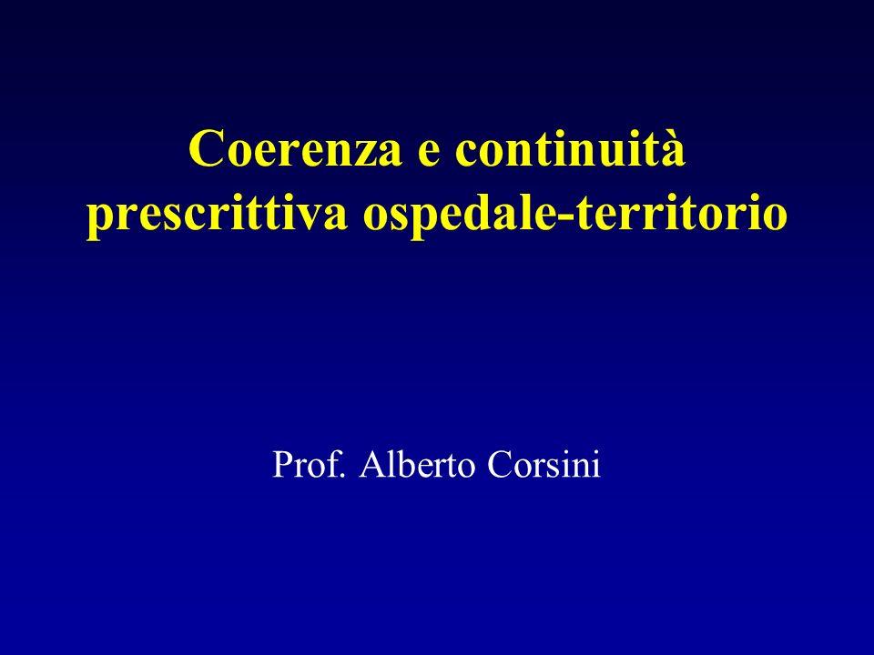Coerenza e continuità prescrittiva ospedale-territorio Prof. Alberto Corsini