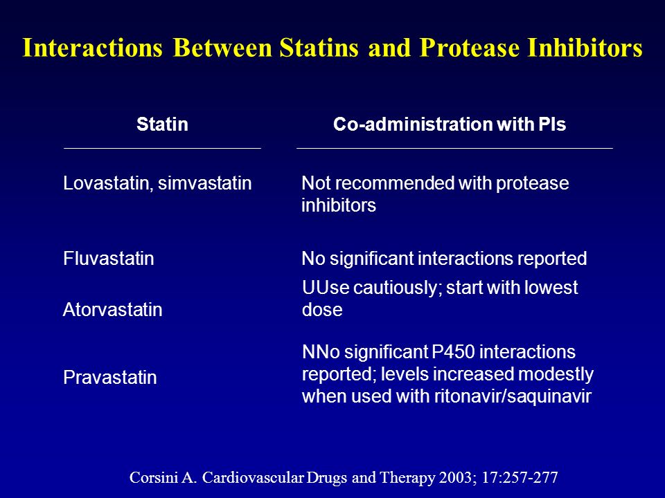 Interactions Between Statins and Protease Inhibitors Lovastatin, simvastatinNot recommended with protease inhibitors FluvastatinNo significant interac