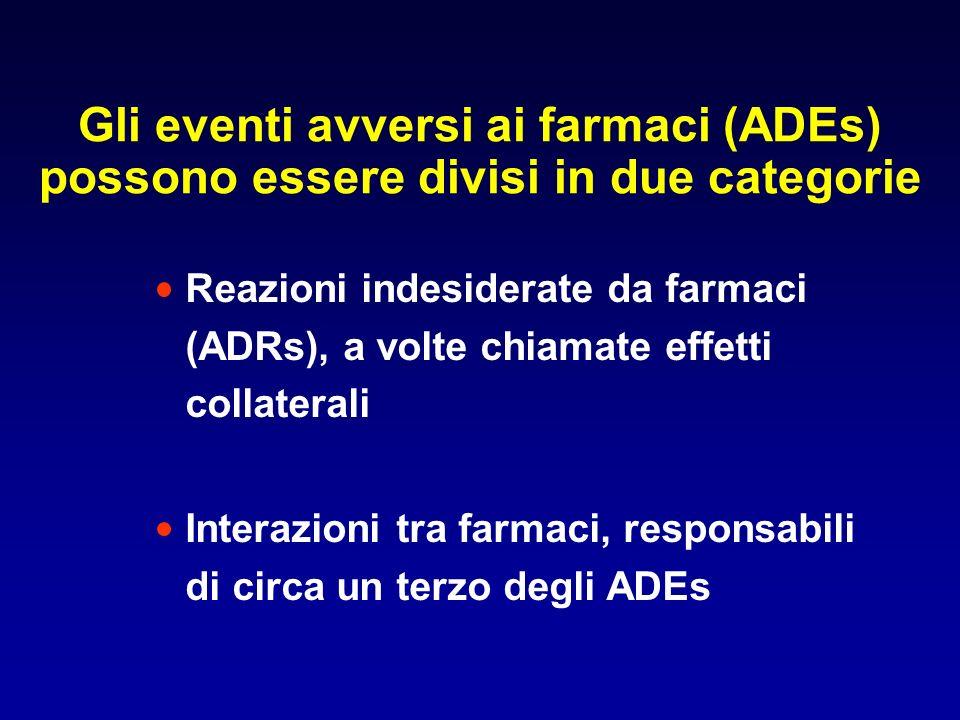 Gli eventi avversi ai farmaci (ADEs) possono essere divisi in due categorie Reazioni indesiderate da farmaci (ADRs), a volte chiamate effetti collater