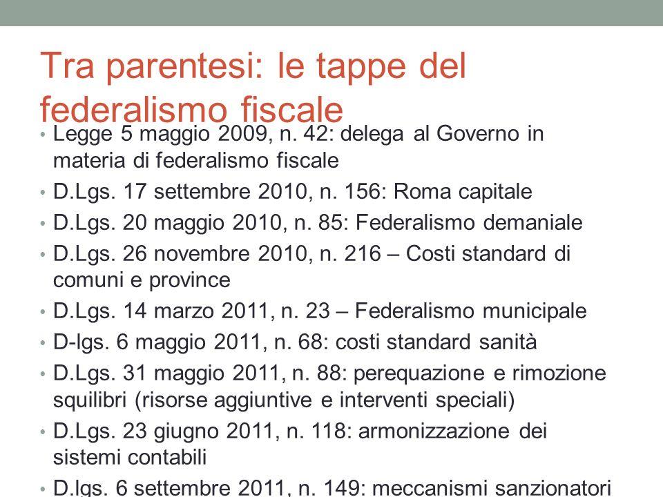 Tra parentesi: le tappe del federalismo fiscale Legge 5 maggio 2009, n.