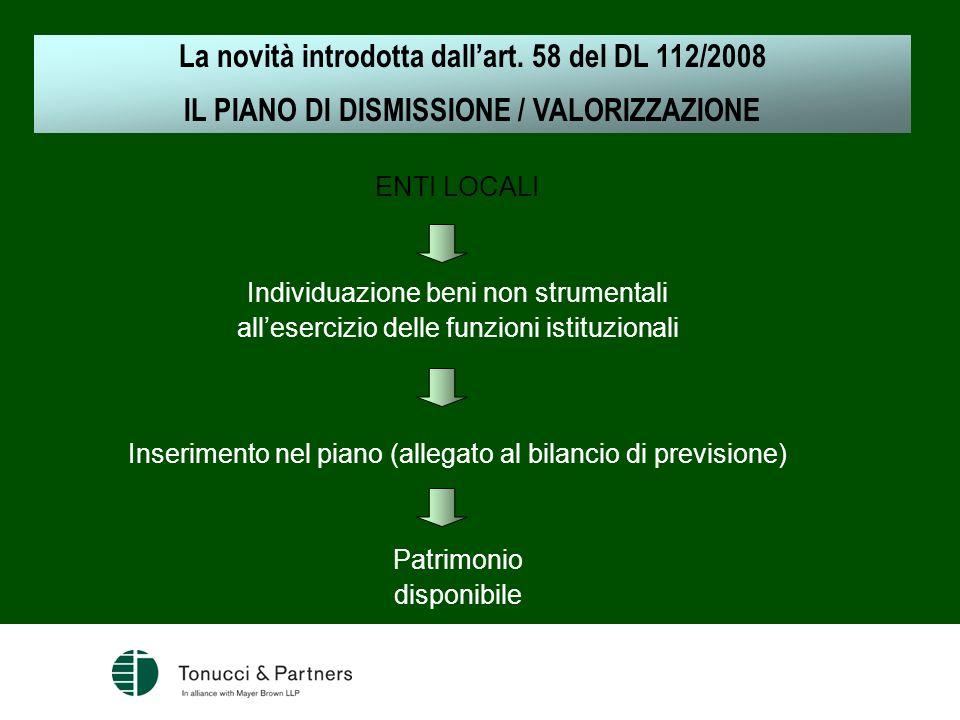 ENTI LOCALI Individuazione beni non strumentali allesercizio delle funzioni istituzionali Inserimento nel piano (allegato al bilancio di previsione) P