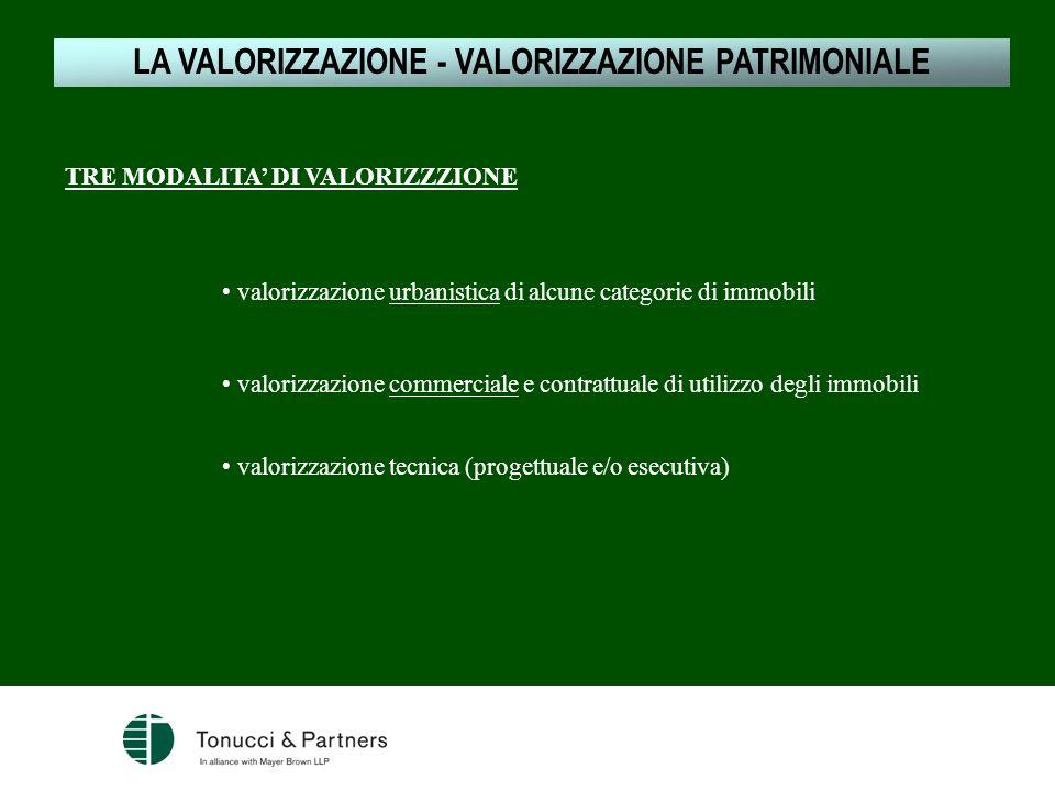 1.LE JV NELLA NORMATIVA COMUNITARIA TRE MODALITA DI VALORIZZZIONE LA VALORIZZAZIONE - VALORIZZAZIONE PATRIMONIALE valorizzazione urbanistica di alcune