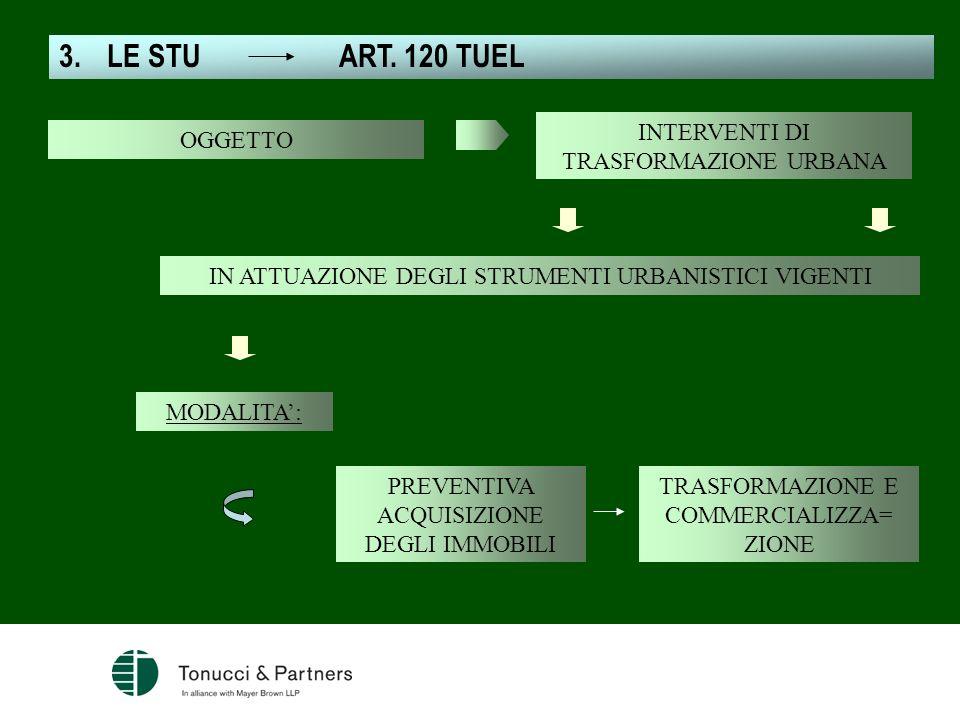 3.LE STU ART. 120 TUEL IN ATTUAZIONE DEGLI STRUMENTI URBANISTICI VIGENTI MODALITA: INTERVENTI DI TRASFORMAZIONE URBANA PREVENTIVA ACQUISIZIONE DEGLI I