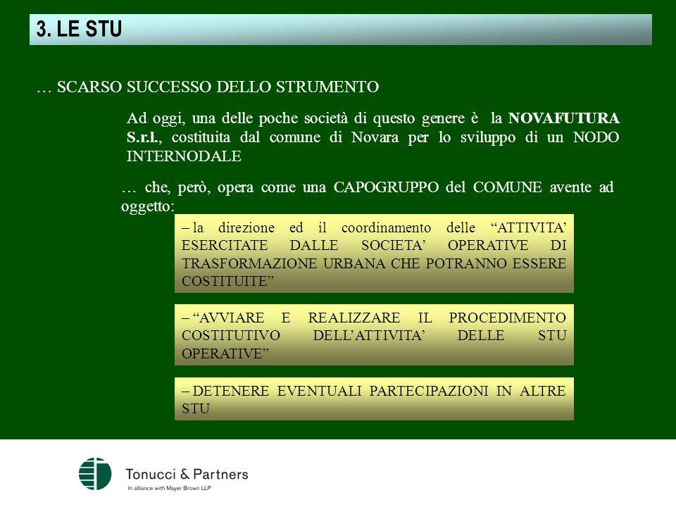 Ad oggi, una delle poche società di questo genere è la NOVAFUTURA S.r.l., costituita dal comune di Novara per lo sviluppo di un NODO INTERNODALE … SCA