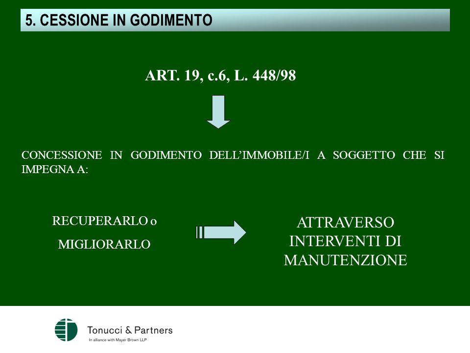 5. CESSIONE IN GODIMENTO ART. 19, c.6, L. 448/98 CONCESSIONE IN GODIMENTO DELLIMMOBILE/I A SOGGETTO CHE SI IMPEGNA A: RECUPERARLO o MIGLIORARLO ATTRAV