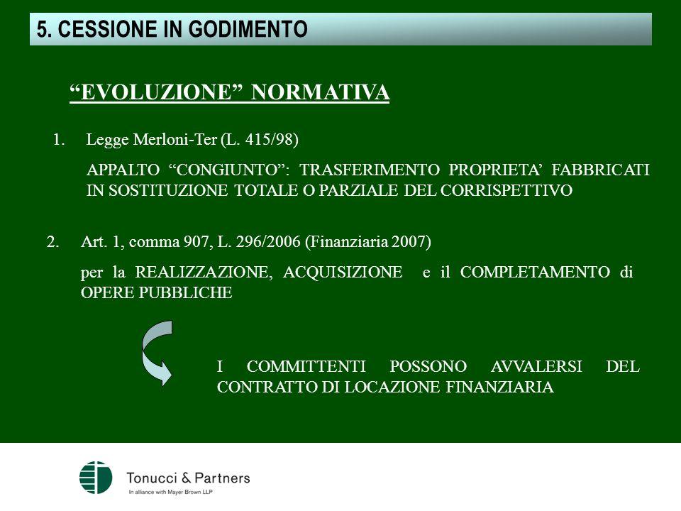 CESSIONE IN GODIMENTO EVOLUZIONE NORMATIVA 1.Legge Merloni-Ter (L. 415/98) APPALTO CONGIUNTO: TRASFERIMENTO PROPRIETA FABBRICATI IN SOSTITUZIONE TOTAL