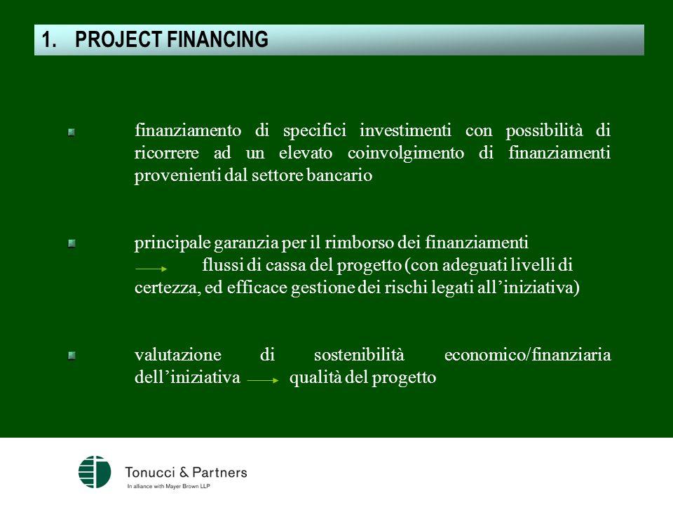 finanziamento di specifici investimenti con possibilità di ricorrere ad un elevato coinvolgimento di finanziamenti provenienti dal settore bancario pr