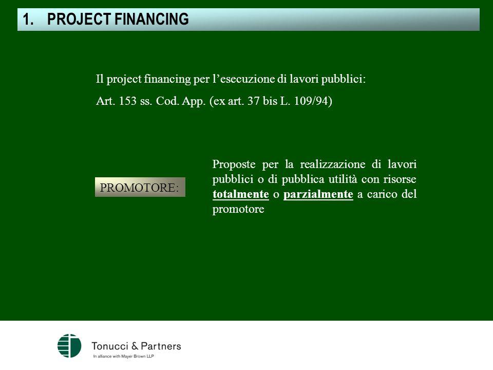 Il project financing per lesecuzione di lavori pubblici: Art. 153 ss. Cod. App. (ex art. 37 bis L. 109/94) PROMOTORE: Proposte per la realizzazione di