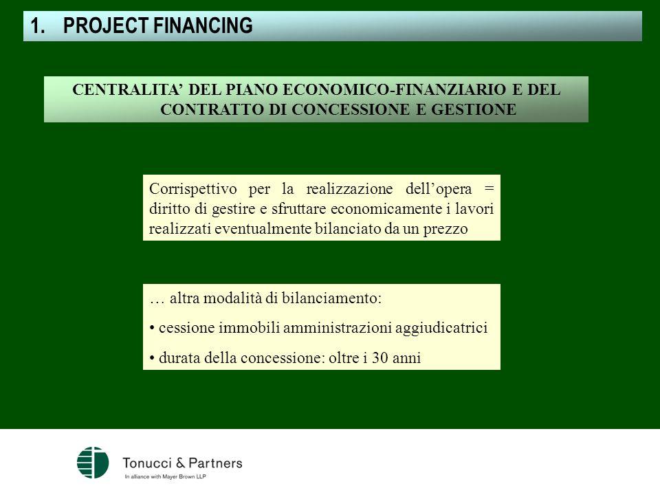 CENTRALITA DEL PIANO ECONOMICO-FINANZIARIO E DEL CONTRATTO DI CONCESSIONE E GESTIONE Corrispettivo per la realizzazione dellopera = diritto di gestire
