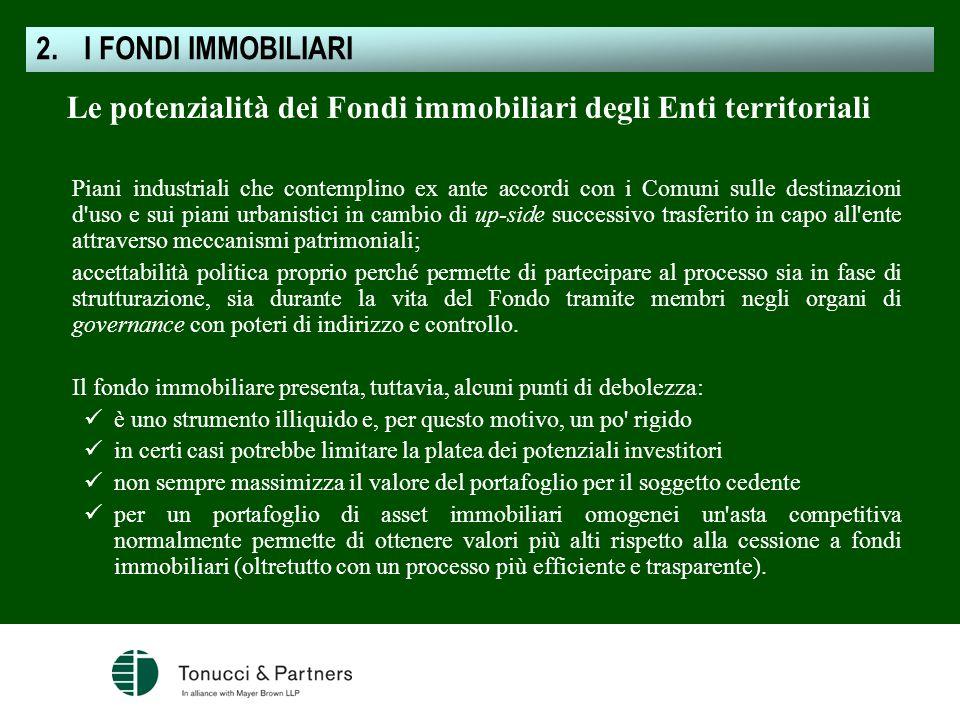 Le potenzialità dei Fondi immobiliari degli Enti territoriali Piani industriali che contemplino ex ante accordi con i Comuni sulle destinazioni d'uso