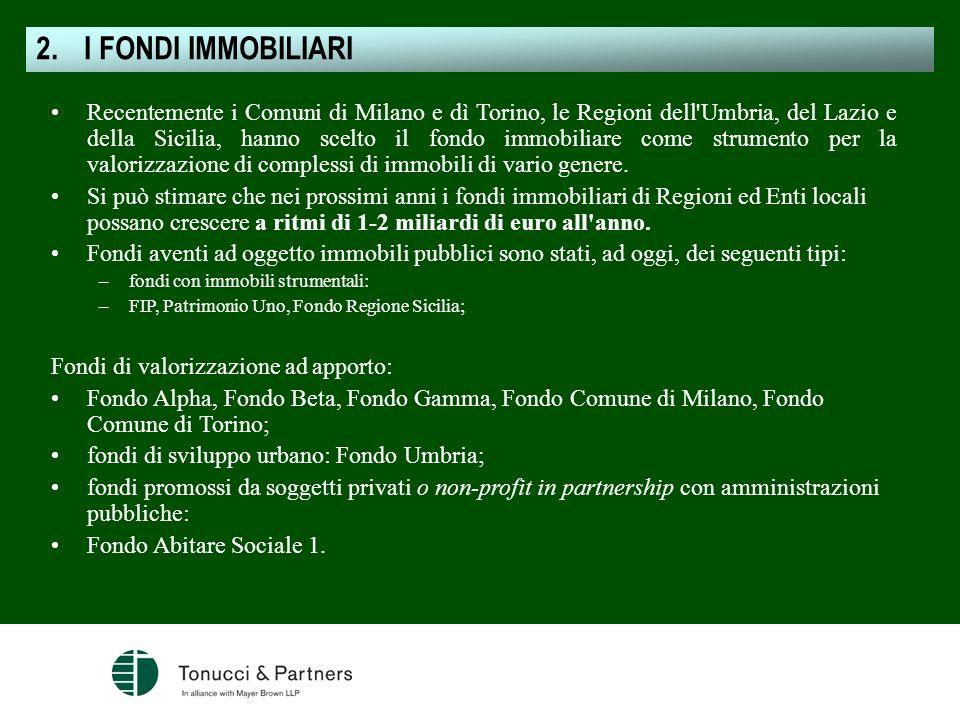 Recentemente i Comuni di Milano e dì Torino, le Regioni dell'Umbria, del Lazio e della Sicilia, hanno scelto il fondo immobiliare come strumento per l