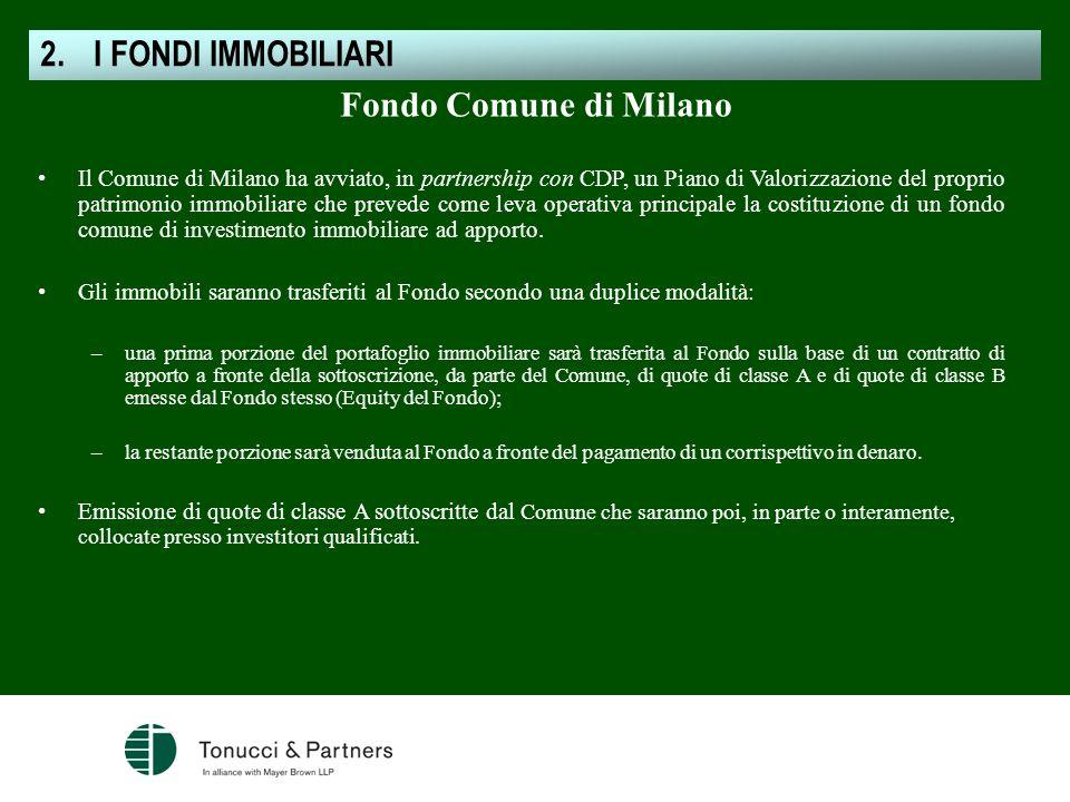Fondo Comune di Milano Il Comune di Milano ha avviato, in partnership con CDP, un Piano di Valorizzazione del proprio patrimonio immobiliare che preve