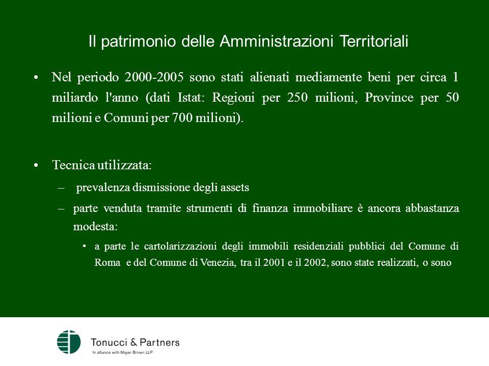 Il patrimonio delle Amministrazioni Territoriali Nel periodo 2000-2005 sono stati alienati mediamente beni per circa 1 miliardo l'anno (dati Istat: Re