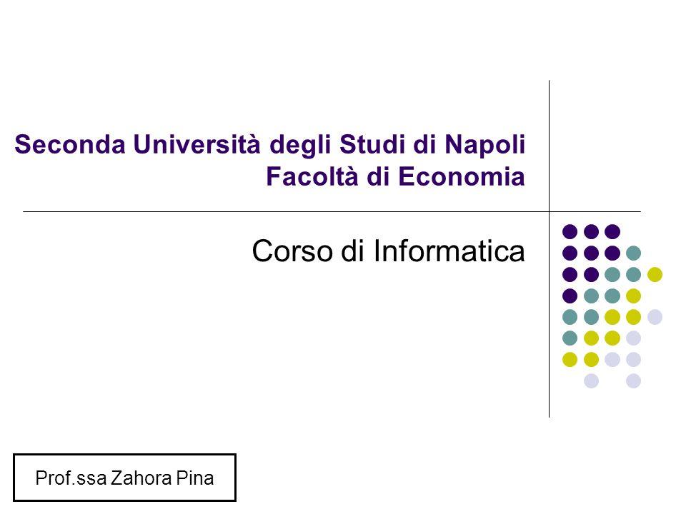Seconda Università degli Studi di Napoli Facoltà di Economia Corso di Informatica Prof.ssa Zahora Pina