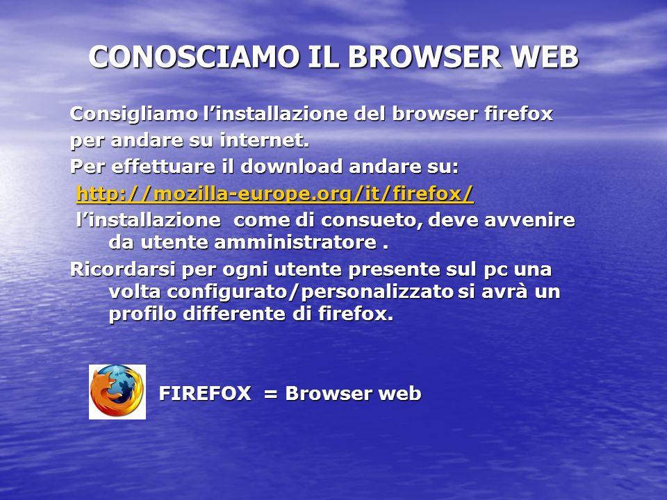 Consigliamo linstallazione del browser firefox per andare su internet. Per effettuare il download andare su: http://mozilla-europe.org/it/firefox/ htt