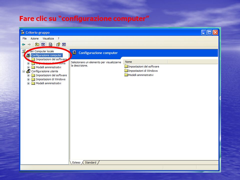 Fare clic su configurazione computer