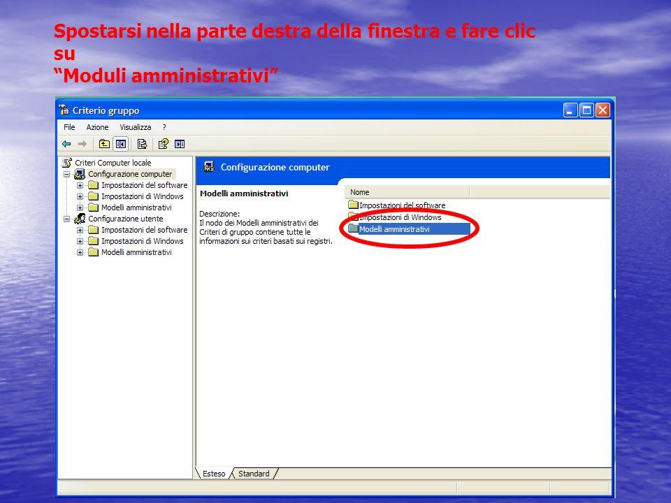 Spostarsi nella parte destra della finestra e fare clic su Moduli amministrativi