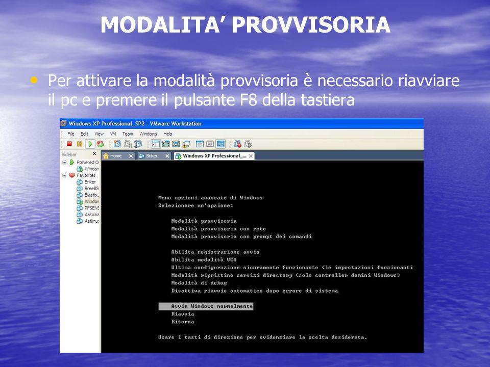 MODALITA PROVVISORIA Per attivare la modalità provvisoria è necessario riavviare il pc e premere il pulsante F8 della tastiera