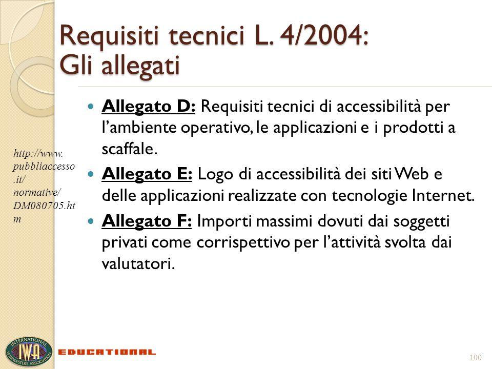 Requisiti tecnici L. 4/2004: Gli allegati Allegato D: Requisiti tecnici di accessibilità per lambiente operativo, le applicazioni e i prodotti a scaff