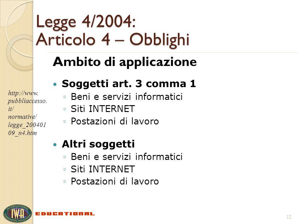 Legge 4/2004: Articolo 4 – Obblighi Ambito di applicazione Soggetti art. 3 comma 1 Beni e servizi informatici Siti INTERNET Postazioni di lavoro Altri