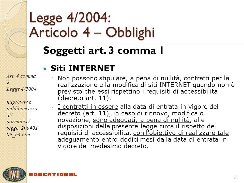 Legge 4/2004: Articolo 4 – Obblighi Soggetti art. 3 comma 1 Siti INTERNET Non possono stipulare, a pena di nullità, contratti per la realizzazione e l