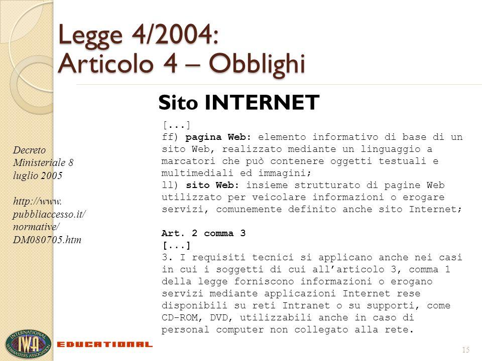 Legge 4/2004: Articolo 4 – Obblighi Sito INTERNET 15 Decreto Ministeriale 8 luglio 2005 http://www. pubbliaccesso.it/ normative/ DM080705.htm [...] ff