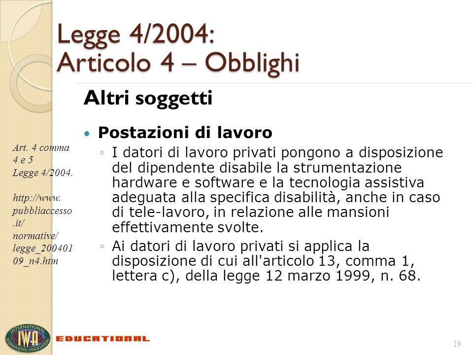 Legge 4/2004: Articolo 4 – Obblighi Altri soggetti Postazioni di lavoro I datori di lavoro privati pongono a disposizione del dipendente disabile la s