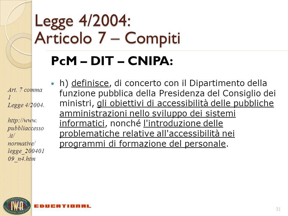 Legge 4/2004: Articolo 7 – Compiti PcM – DIT – CNIPA: h) definisce, di concerto con il Dipartimento della funzione pubblica della Presidenza del Consi