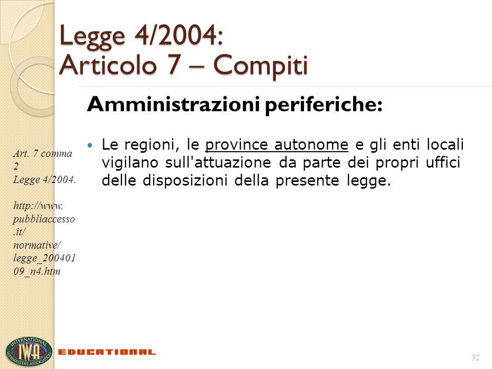 Legge 4/2004: Articolo 7 – Compiti Amministrazioni periferiche: Le regioni, le province autonome e gli enti locali vigilano sull attuazione da parte dei propri uffici delle disposizioni della presente legge.