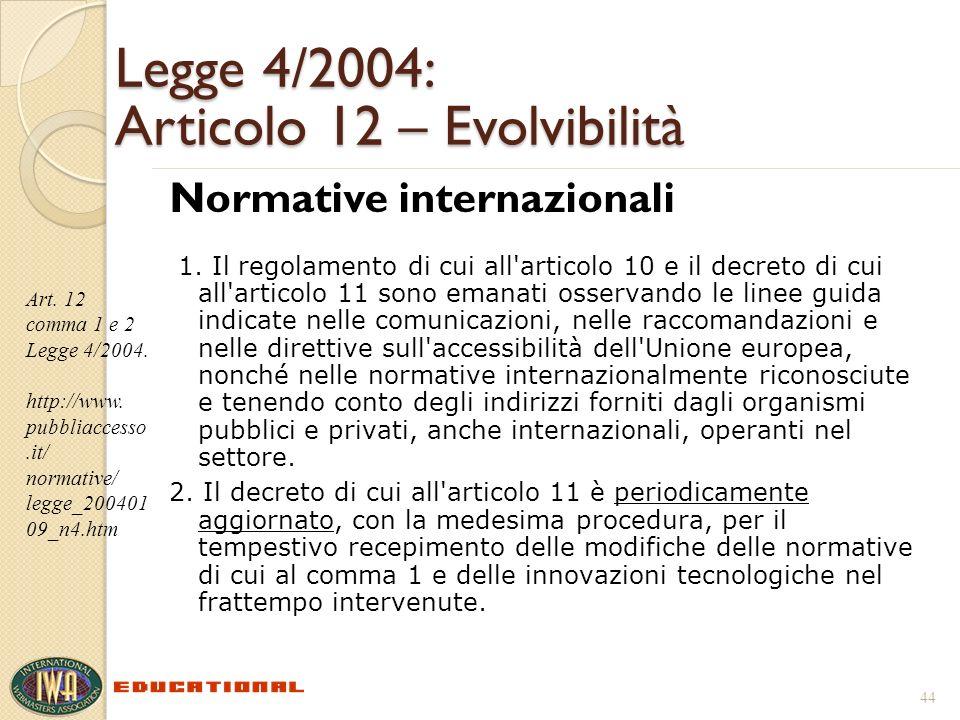Legge 4/2004: Articolo 12 – Evolvibilità Normative internazionali 1. Il regolamento di cui all'articolo 10 e il decreto di cui all'articolo 11 sono em