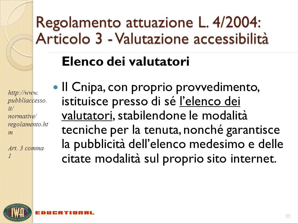 Regolamento attuazione L. 4/2004: Articolo 3 - Valutazione accessibilità Elenco dei valutatori Il Cnipa, con proprio provvedimento, istituisce presso