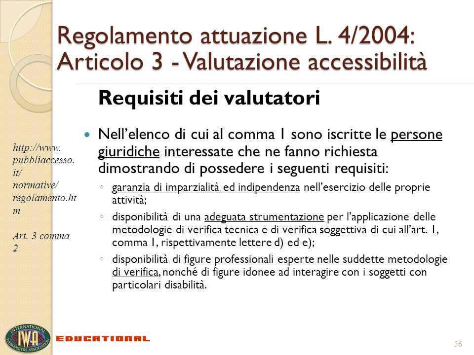 Regolamento attuazione L. 4/2004: Articolo 3 - Valutazione accessibilità Requisiti dei valutatori Nellelenco di cui al comma 1 sono iscritte le person