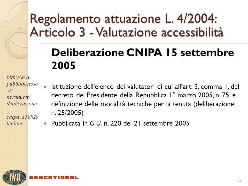 Regolamento attuazione L. 4/2004: Articolo 3 - Valutazione accessibilità Deliberazione CNIPA 15 settembre 2005 Istituzione dell'elenco dei valutatori