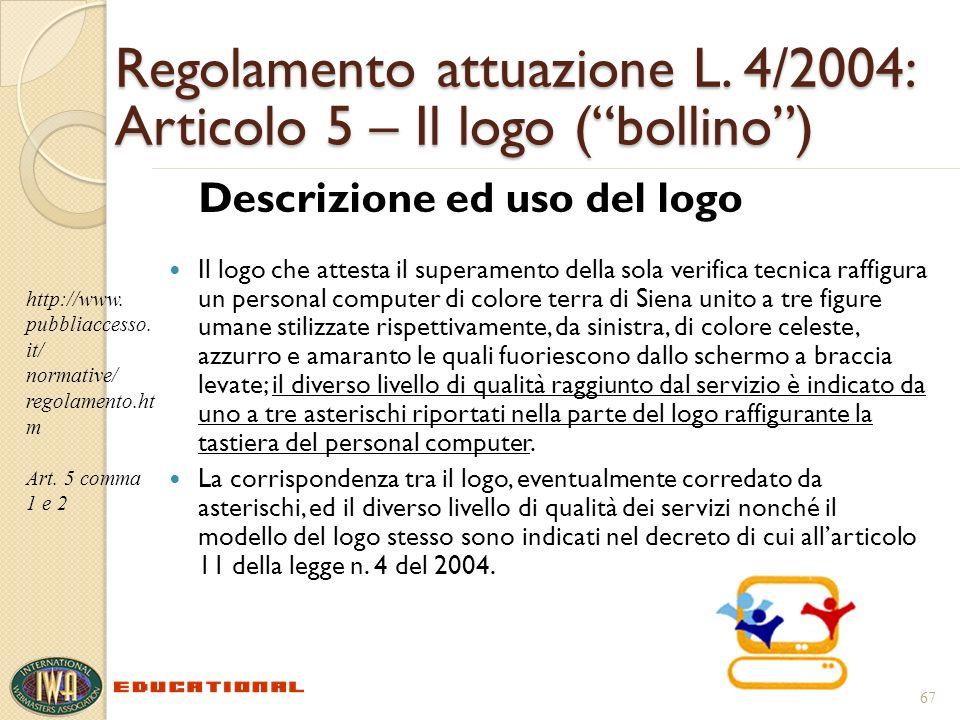 Regolamento attuazione L. 4/2004: Articolo 5 – Il logo (bollino) Descrizione ed uso del logo Il logo che attesta il superamento della sola verifica te