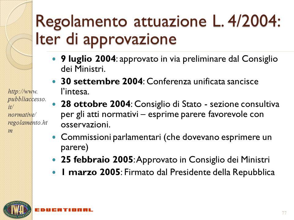 Regolamento attuazione L. 4/2004: Iter di approvazione 9 luglio 2004: approvato in via preliminare dal Consiglio dei Ministri. 30 settembre 2004: Conf