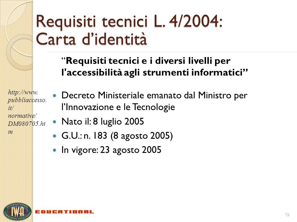 Requisiti tecnici L. 4/2004: Carta didentità Requisiti tecnici e i diversi livelli per l'accessibilità agli strumenti informatici Decreto Ministeriale
