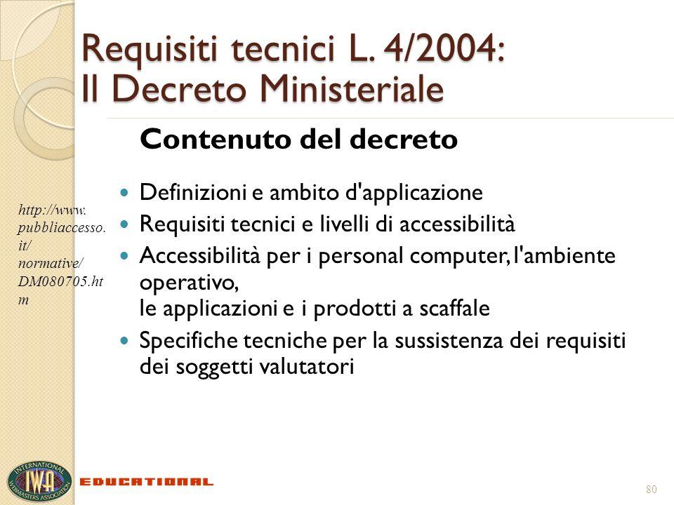 Requisiti tecnici L. 4/2004: Il Decreto Ministeriale Contenuto del decreto Definizioni e ambito d'applicazione Requisiti tecnici e livelli di accessib