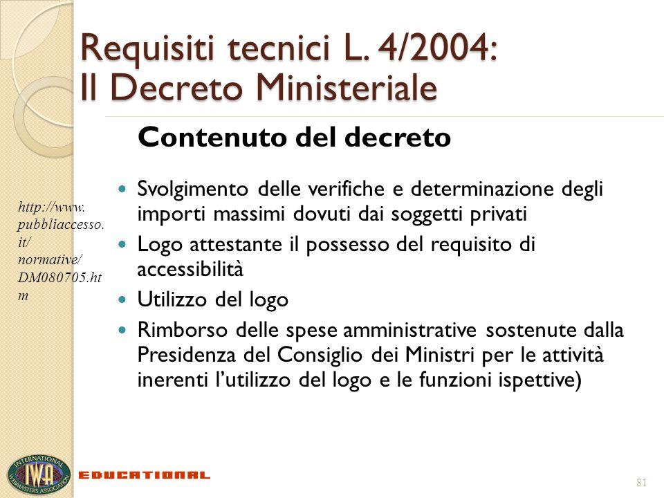 Requisiti tecnici L. 4/2004: Il Decreto Ministeriale Contenuto del decreto Svolgimento delle verifiche e determinazione degli importi massimi dovuti d