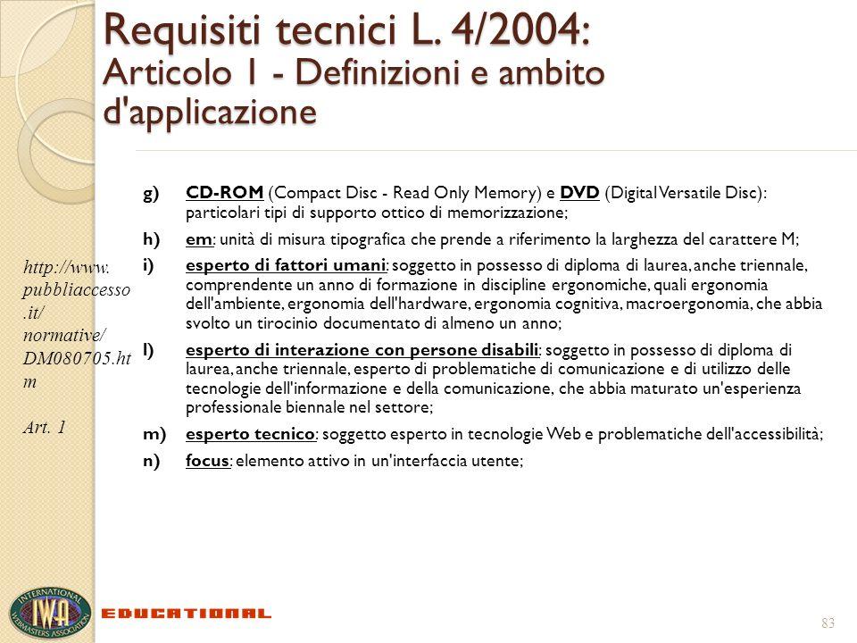 Requisiti tecnici L. 4/2004: Articolo 1 - Definizioni e ambito d'applicazione g)CD-ROM (Compact Disc - Read Only Memory) e DVD (Digital Versatile Disc