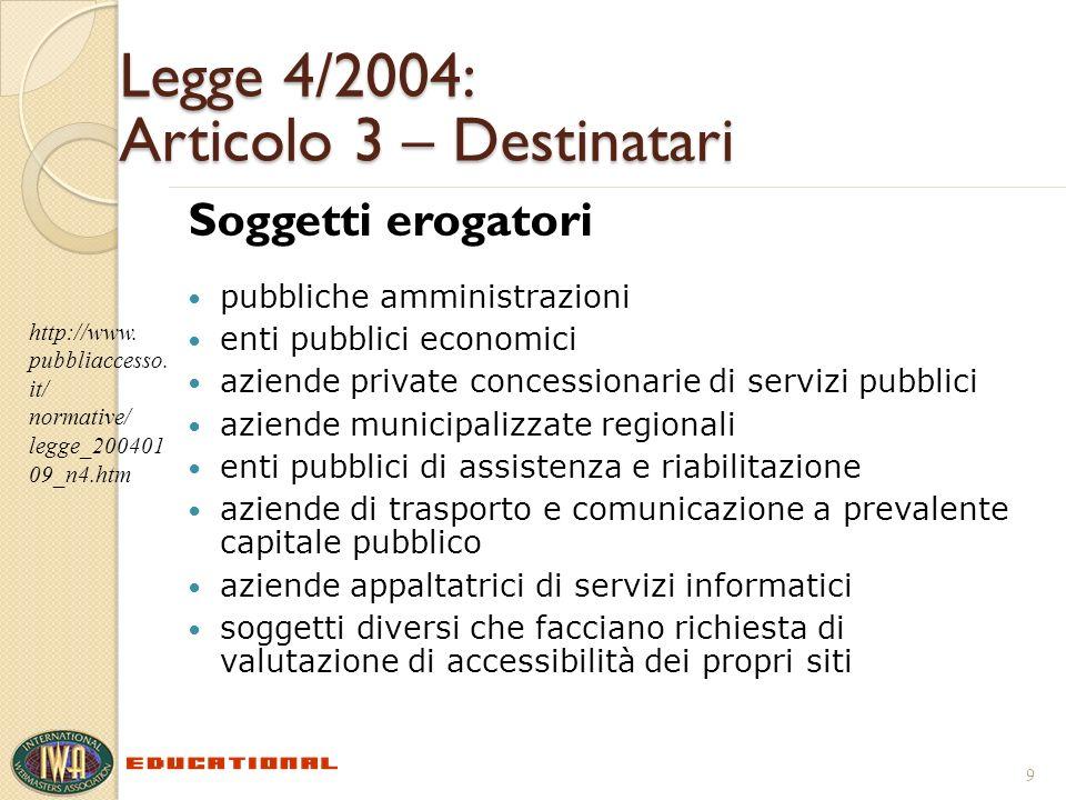 Legge 4/2004: Articolo 3 – Destinatari Soggetti erogatori pubbliche amministrazioni enti pubblici economici aziende private concessionarie di servizi