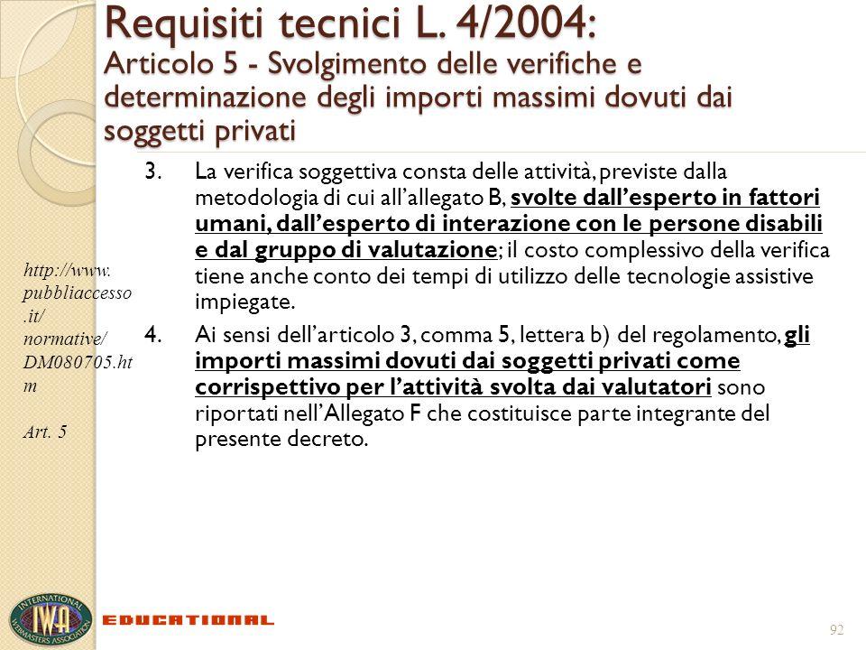 Requisiti tecnici L. 4/2004: Articolo 5 - Svolgimento delle verifiche e determinazione degli importi massimi dovuti dai soggetti privati 3.La verifica