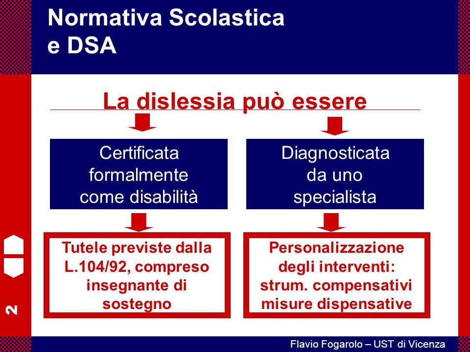 2 Flavio Fogarolo – UST di Vicenza Certificata formalmente come disabilità Normativa Scolastica e DSA La dislessia può essere Diagnosticata da uno specialista Tutele previste dalla L.104/92, compreso insegnante di sostegno Personalizzazione degli interventi: strum.